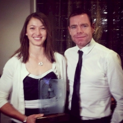 How amazing is this! Female winner of the World Cup Antwerp 2014, Janine Jungfels got elected as the Australian Female MTB of the year which was presented by Cadel Evans!! #FemalePedalPower #TrialsOnTop