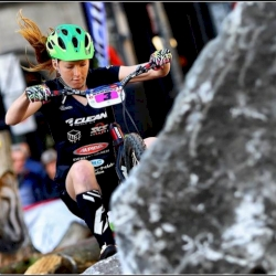 Nina Reichenbach, current World Cup leader, at work in Antwerp last year !   #ucitrialswc #biketrial