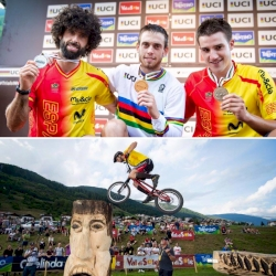 The podium for the UCI Trials World Championship Men Elite 20